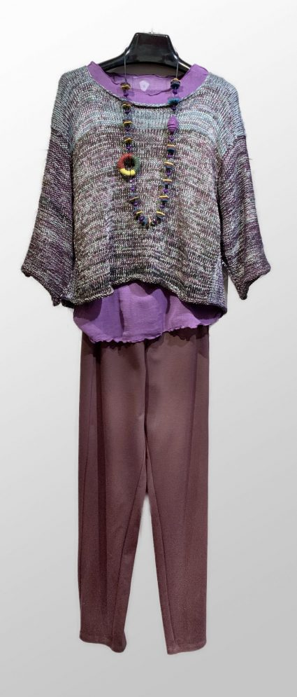 Skif iridescent knit pullover, over a Motion 100% cotton mesh tee. Paired with Mes Soeurs et Moi double knit pants.