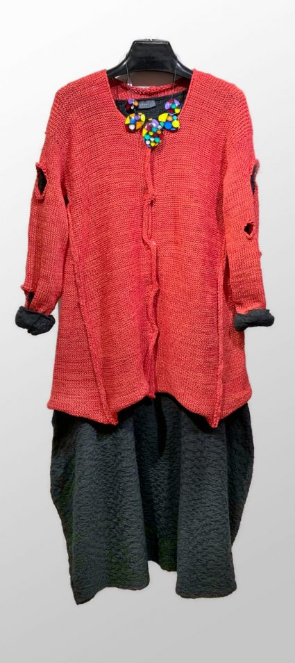 Skif scarlet cardigan, over a Neirami textured bubble dress. Paired with a colorful Sobral necklace.