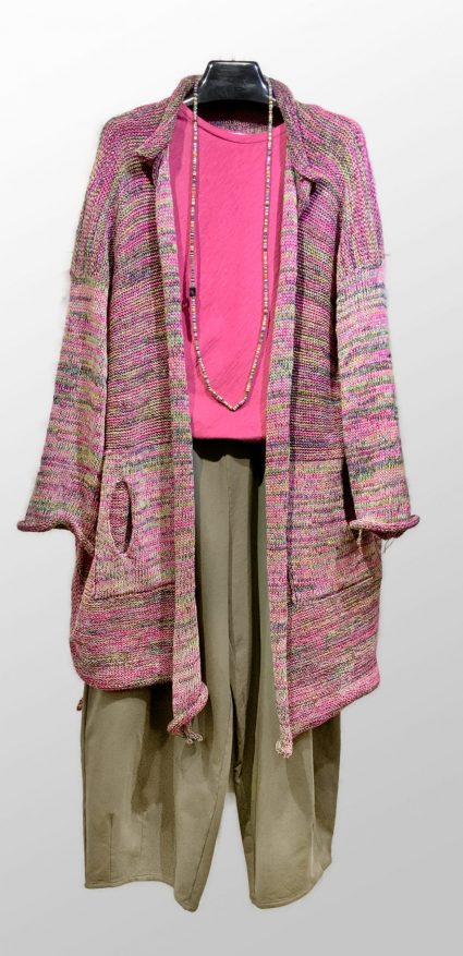 Skif pink-blend knit cardigan, over a Motion bias tee in bubblegum pink. Paired with Mama B relaxed-leg french terry pants.