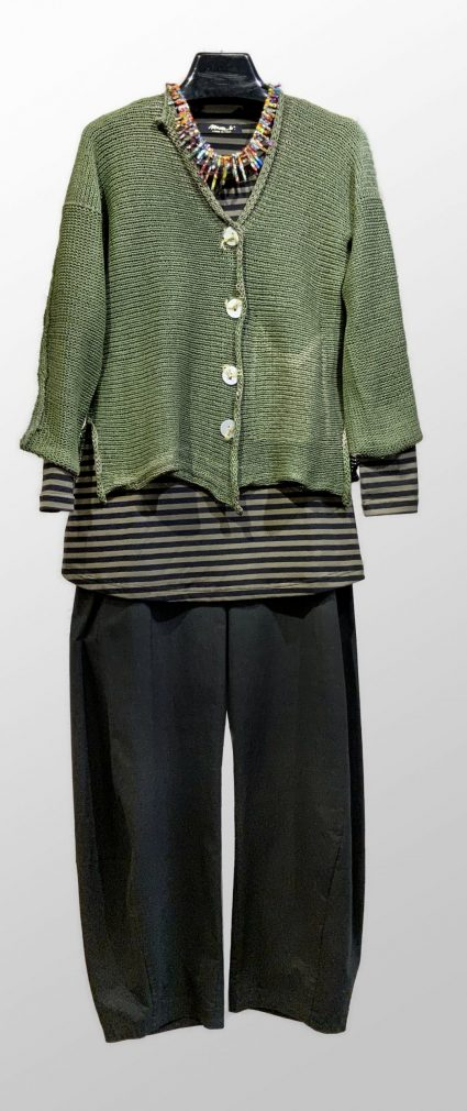 Skif moss green knit cardigan, over a Mama b a-line cotton stretch tee. Paired with Mama B french terry pants with a relaxed leg.