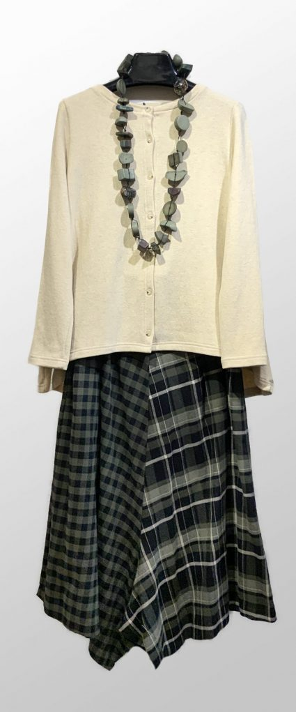 Mama B cream knit cardigan, over Mama B pattern-blocked cotton flannel culottes. Paired with a Sobral resin necklace.