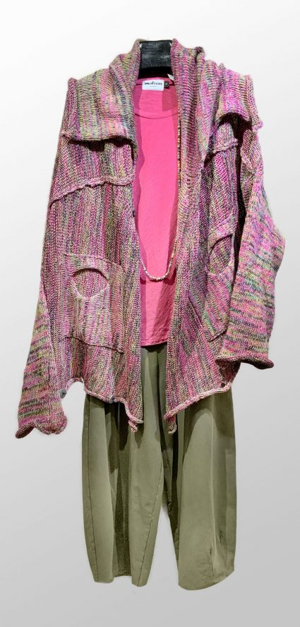 Skif pink-blend knit cardigan, worn upside-down. Over a Motion bias tee in bubblegum pink. Paired with Mama B relaxed-leg french terry pants.