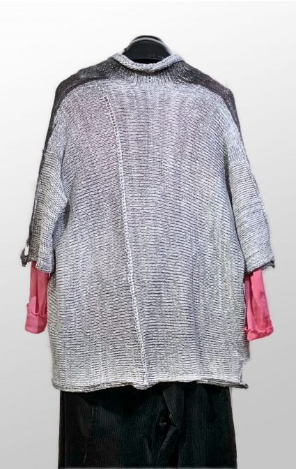 Reverse, Skif reversible knit cardi with metallic overprint. Layered with a Motion 100% cotton mesh tee.