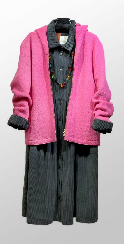 Elemente Clemente 100% boiled wool bubblegum hoodie, over a McVerdi corduroy coat-dress.