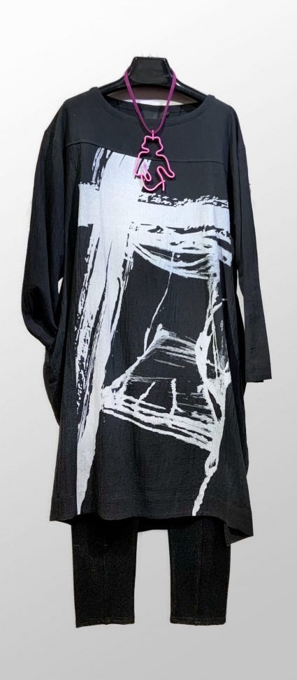 Moyuru cotton knit tee shirt dress, with a graphic print. Layered over Motion seamed leggings.