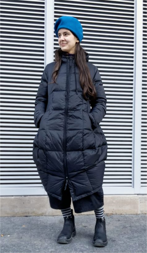 Black Label bubble-shaped down puffer. Paired with a Kopka 100% merino wool beret.