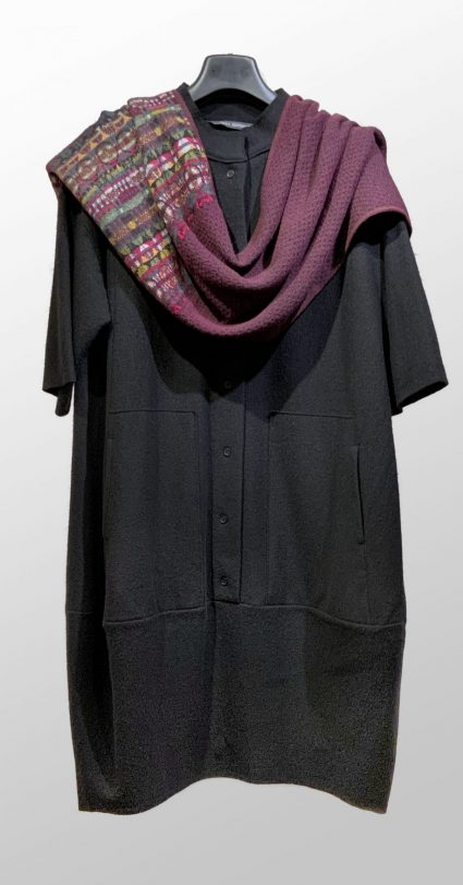 Elemente Clemente 100% boiled wool short-sleeve shirt dress, paired with a Catherine Andre wool-blend winter shawl.