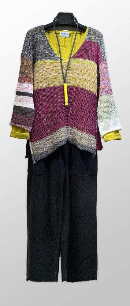 Skif multicolour cotton-blend sweater, over a Motion cotton-linen blend swing tee. Paired with Elemente Clemente boiled wool trousers.