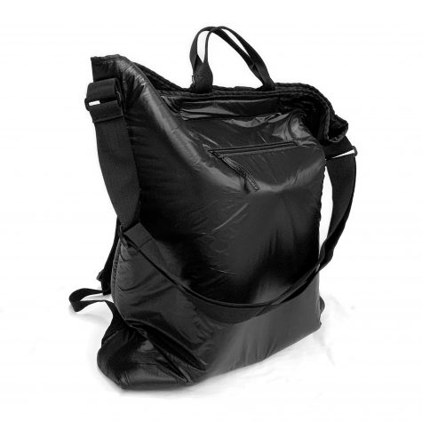 Black Label puffer bag pack. A tote, a shoulder bag, and a backpack all in one.