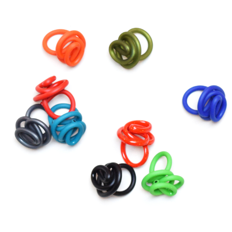 Assorted colourful rubber rings.