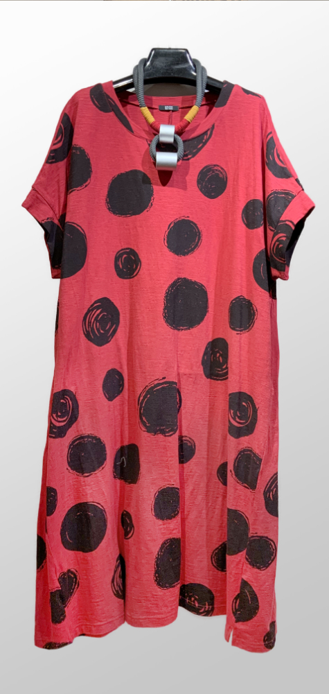 Moyuru 100% cotton red dot dress.