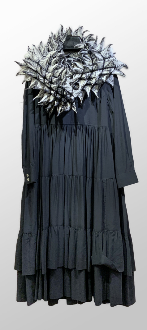 McVerdi cupro-cotton full gathered dress, paired with a big Bunzaburo hand-dyed shibori silk scarf.