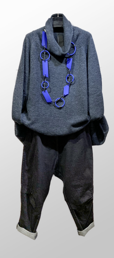 Rundholz Black Label cozy cowl sweater, over Rundholz Black Label drop-rise dark wash jeans.