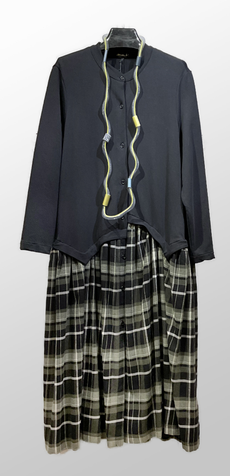 Mama B coat dress in french terry, with a contrasting cotton flannel tartan skirt.