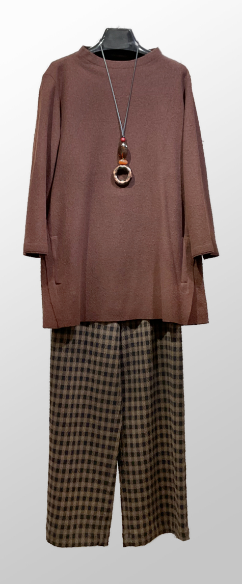 Elemente Clemente brown boiled wool tunic, over Elemente Clemente brown check wide-leg pants.