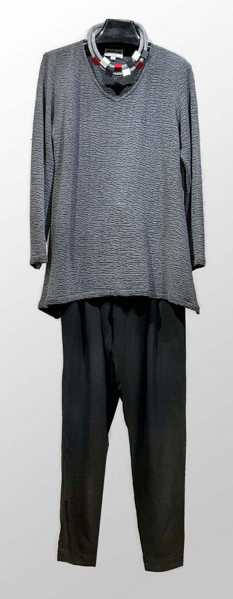 Motion crinkle-knit v-neck tunic, over Elemente Clemente cotton-knit sweatpants.