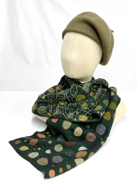 Sophie Digard hand-crocheted 100% merino wool scarf, topped with a Kopka wool beret in Khaki green.