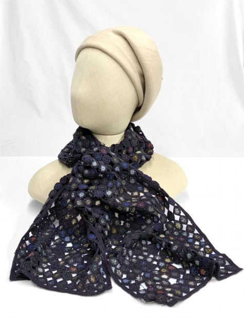 Sophie Digard hand-crocheted 100% merino wool scarf, topped with a Kopka wool beret in Cream.