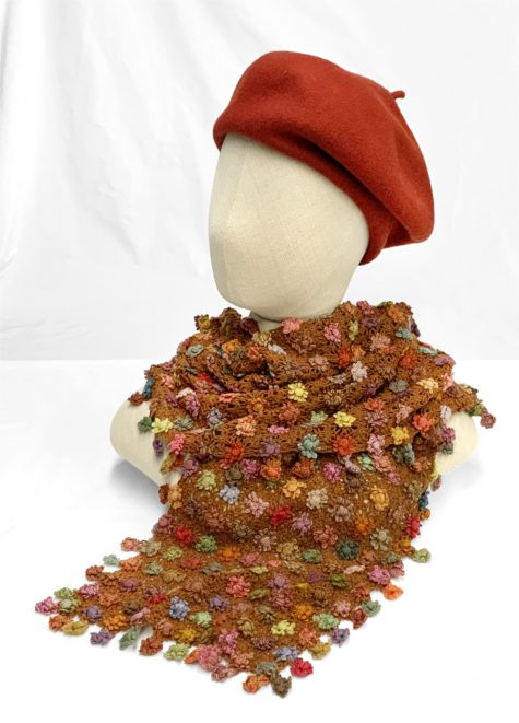 Sophie Digard hand-crocheted 100% merino wool scarf, topped with a Kopka wool beret in Paprika red.