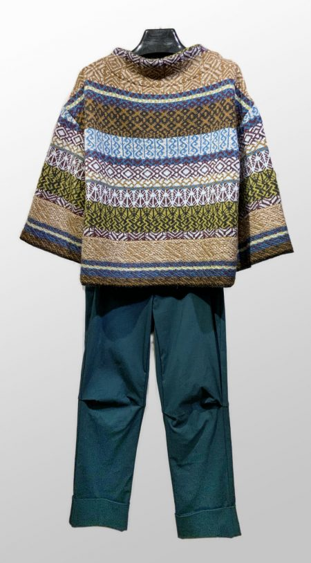 Catherine Andre fair isle wool sweater, over Vespa pants in Pine green.
