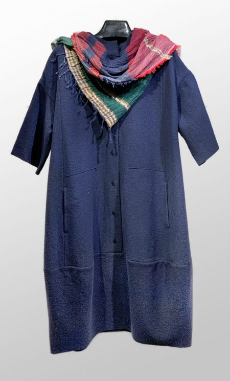 Elemente Clement boiled wool dress in Midnight blue. Also available in Black. Paired with a medium Tamaki Niime 100% cotton gauze shawl.