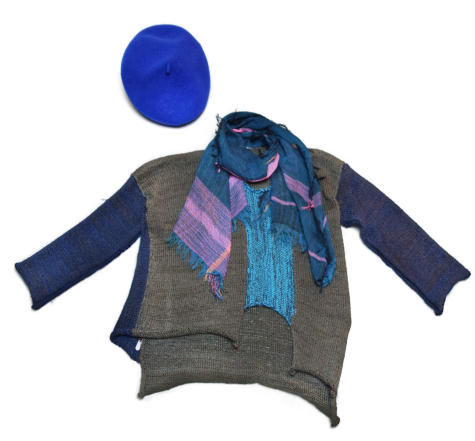 Skif asymmetric cotton-blend sweater, paired with a Tamaki Niime 100% cotton gauze scarf.