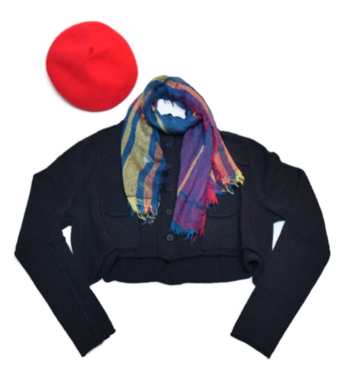 Black Label cotton-blend cropped cardi, paired with a Tamaki Niime 100% cotton gauze scarf, and a Kopka wool beret.
