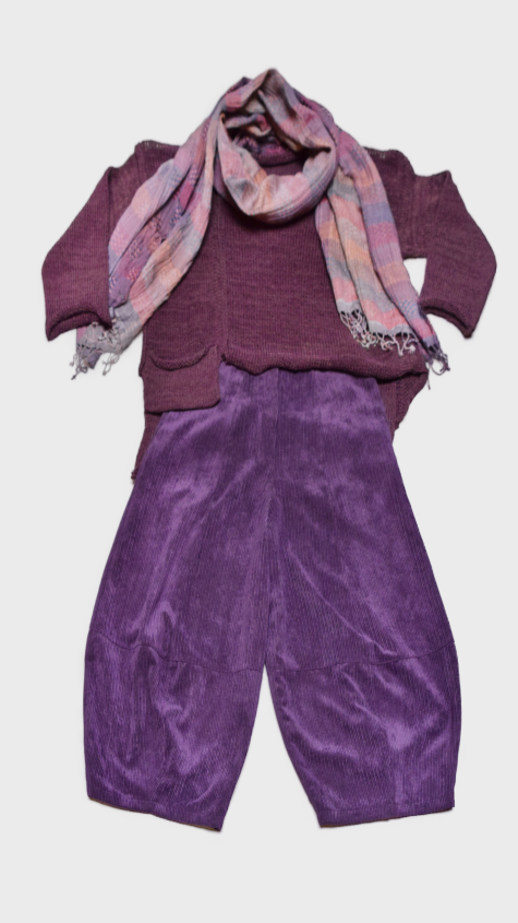 Skif asymmetric cropped sweater in Eggplant purple, over Motion corduroy bubble pants. Paired with a Neeru Kumar 100% silk scarf.