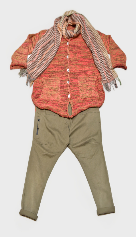 Skif cotton-blend cardigan in Papaya red, over Rundholz Black Label drop-rise pants. Paired with a Neeru Kumar 100% silk scarf.
