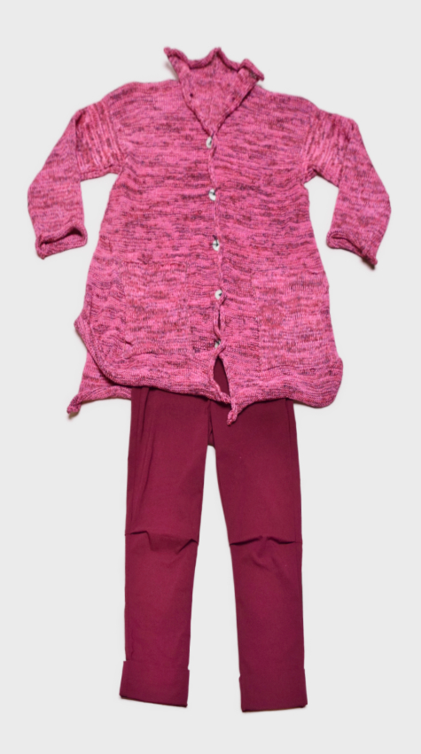 Skif cotton-blend cardigan in Strawberry Pinks, layered with Vespa pants in Dahlia Red.