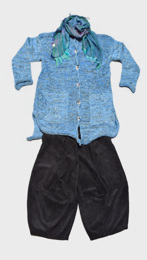 Skif cotton-blend cardigan in Sky Blue, layered over Motion bubble pants in dark grey corduroy. Paired with a small Tamaki Niime 100% cotton gauze scarf.