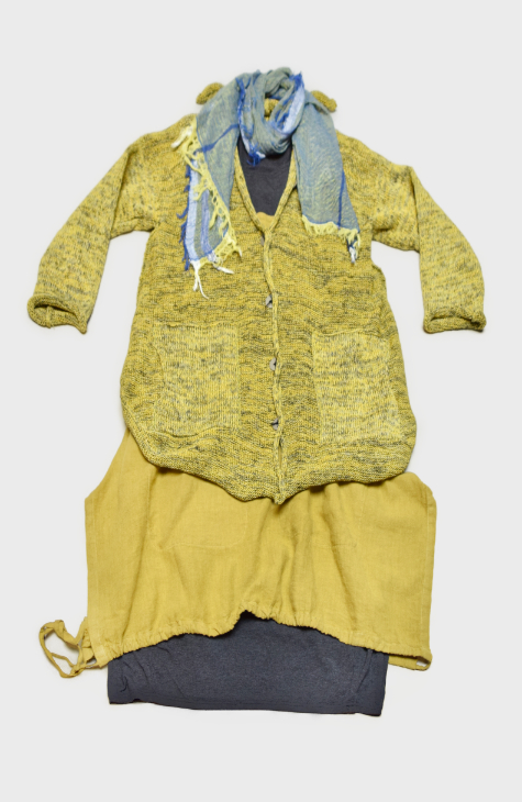 Skif cotton-blend cardigan in Lemon yellow, over a Motion 100% linen pinafore. Layered with a Motion charcoal knit dress, and paired with a small Tamaki Niime 100% cotton gauze scarf.