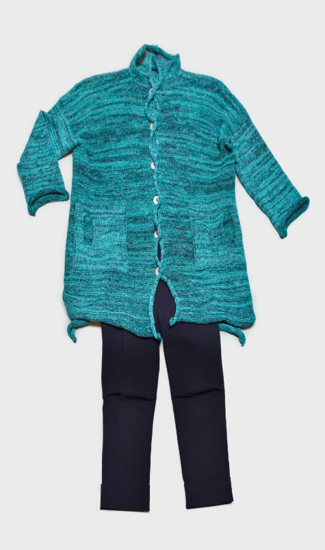 Skif cotton-blend cardigan in Dark Turquoise, layered with Vespa pants in Navy Blue.