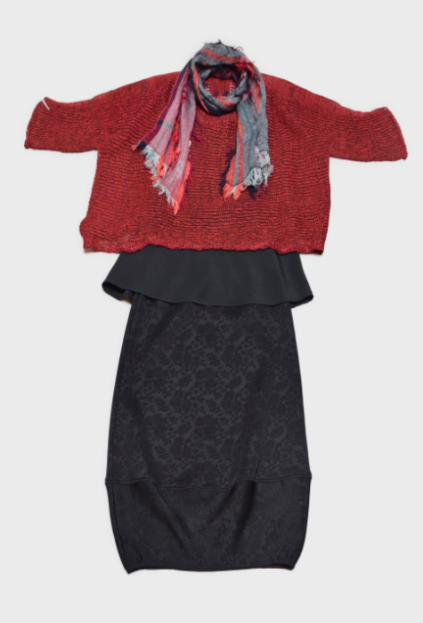 Skif cropped sweater in dark red, over a black Motion tank. Layered with a brocade knit Motion bubble skirt, and paired with a small Tamaki Niime 100% cotton scarf.