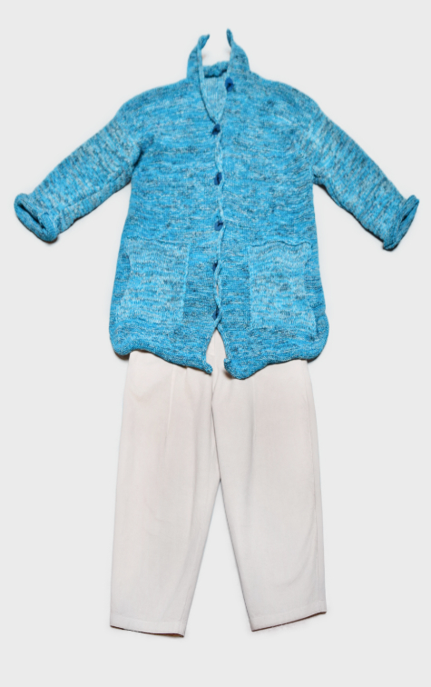 Skif cotton-blend cardigan in Aqua blue, layered over Neirami cotton twill trousers.