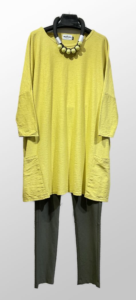 Motion cotton-linen knit 2-pocket tunic in lemon yellow, over Hudson pants in army green.