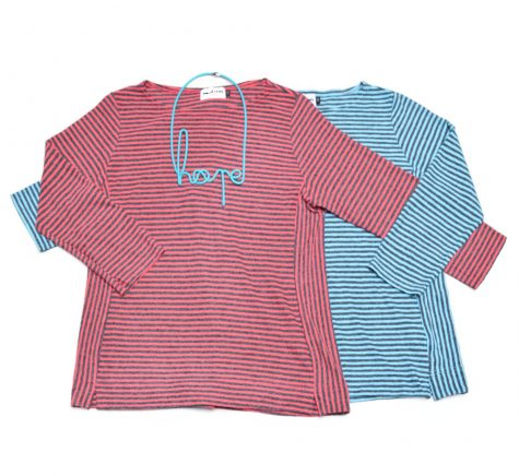 "Motion cotton-linen blend side-panel striped tees, paired with a ""hope"" collar."