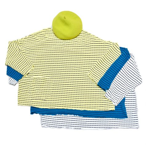 Motion onesize striped tencel tees, paired with a bright lime beret.