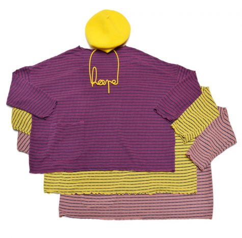 "Motion onesize striped tencel tees, paired with a ""hope"" collar and bright lemon beret."