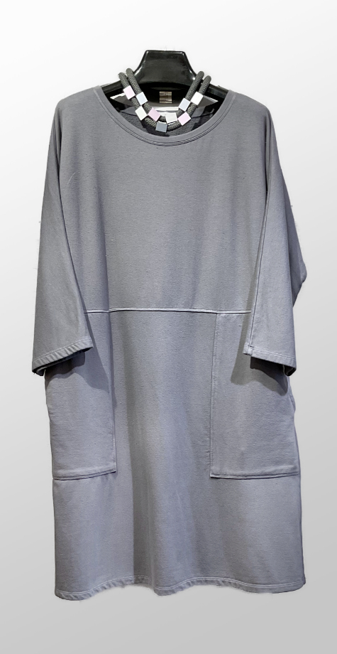 Motion grey fleece shift dress in a modal blend.