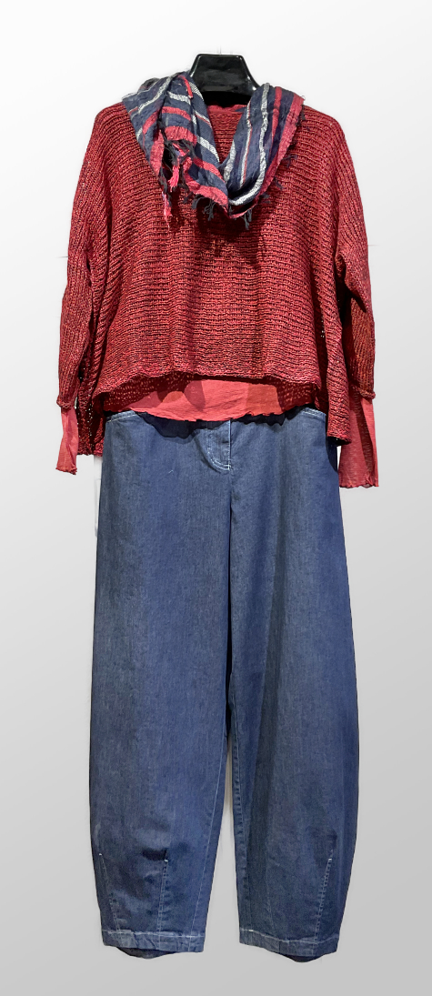 Skif cropped sweater, over a Motion 100% cotton mesh tee. Paired with Oska lightweight denim trousers.