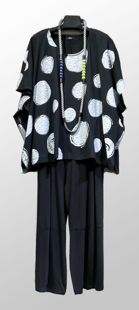 Moyuru dot-print cap-sleeve tee, over Motion bamboo rayon bubble pants.