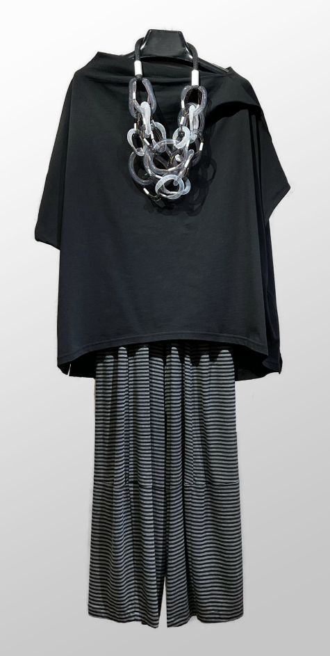Moyuru cap-sleeve tee with a draped collar, over Motion bamboo-rayon striped bubble pants.