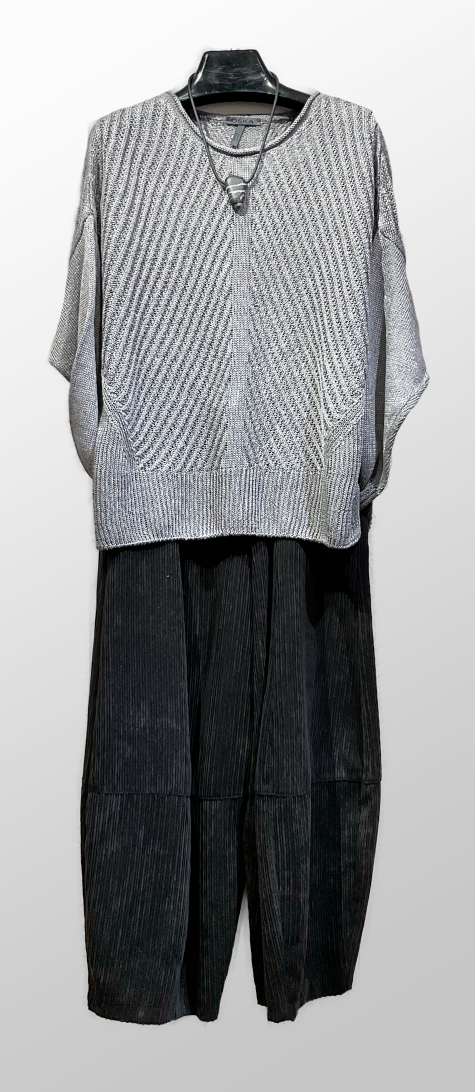 Oska linen-knit cap-sleeve pullover in silver-grey, over Motion corduroy bubble pants.