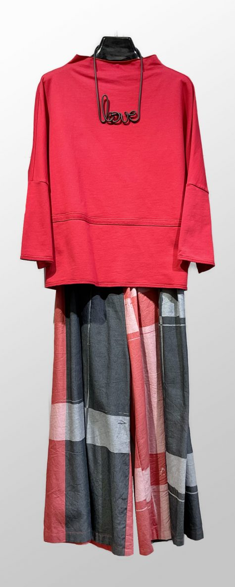 Elemente Clemente scarlet french terry pullover, over Tamaki Niime 100% cotton wide-leg pants.