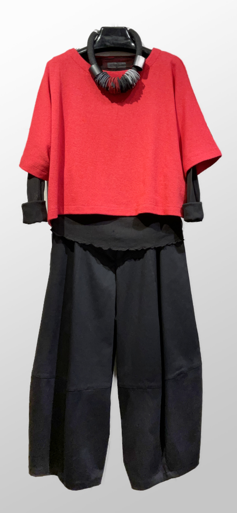 Mes Soeurs et Moi knit scarlet topper, over a Motion 100% cotton each tee in black. Layered over Motion black cotton bubble pants.