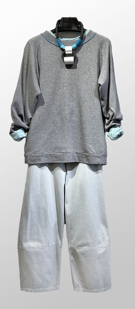 Tamaki Niime 100% cotton french terry sweatshirt, over Elemente Clemente garment-dyed cotton trousers.