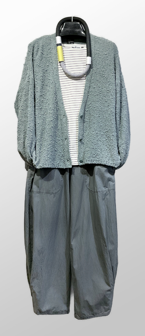 Mes Soeurs et Moi boucle yarn cardigan, over a Motion striped boatneck tee. Layered over Oska lightweight cotton trousers.