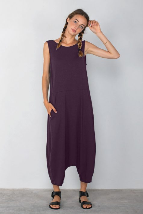 Mama B cotton knit drop rise jumpsuit in burgundy purple. Also available in black.