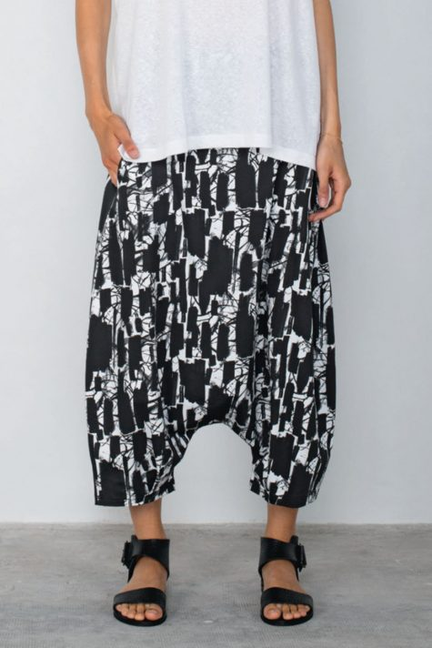 Mama B drop-rise printed cotton knit pants.